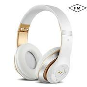 Wireless Gaming Headset, Home office headset PS4 Headset with 7.1 Surround Sound, Xbox One Headset with Noise Canceling Mic, Compatible w/ PS4, Xbox One, Laptop, White-gold