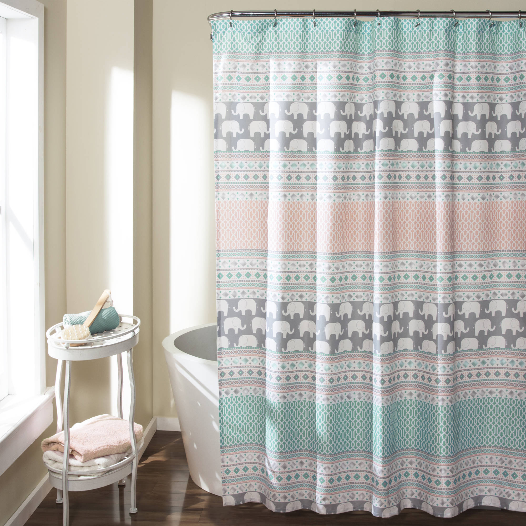 Elephant Stripe Shower Curtain, Turquoise/Pink