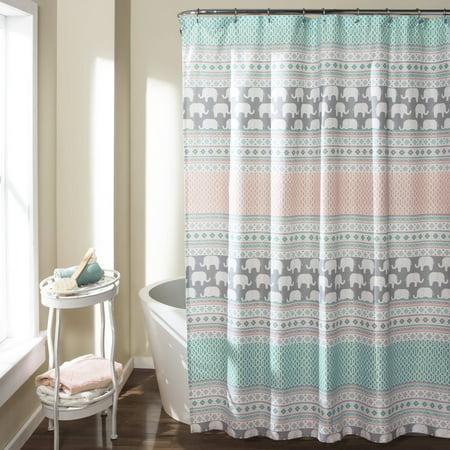 Elephant Stripe Shower Curtain Turquoise Pink Walmart Com