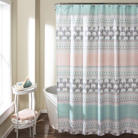 Elephant Stripe Shower Curtain Turquoise Pink
