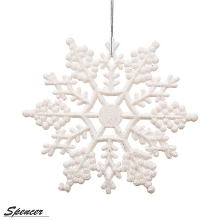Christmas Decoration Catalogs (Spencer 4 inch Pack of 12 White Glitter Snowflake Christmas Ornaments Xmas Tree Hanging)