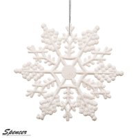Spencer 4 inch Pack of 36 White Glitter Snowflake Christmas Ornaments Xmas Tree Hanging Decoration