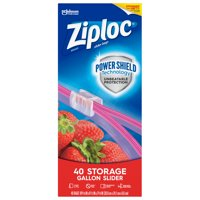 Ziploc Brand Slider Storage Gallon Bags with Power Shield Technology, 40 Count