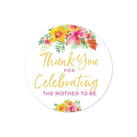 Tropical Floral Garden Party Baby Shower, Circle Label Stickers, Thank You for Celebrating the Mother to Be, (Sticker Motor)