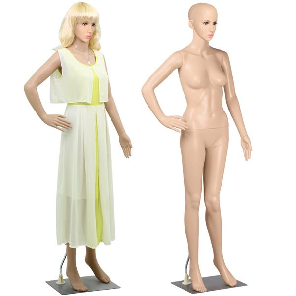 Yaheetech Adjustable Dressmaker Dummy Female Mannequin Display Head Turns Dress Form w/ Base, Nude