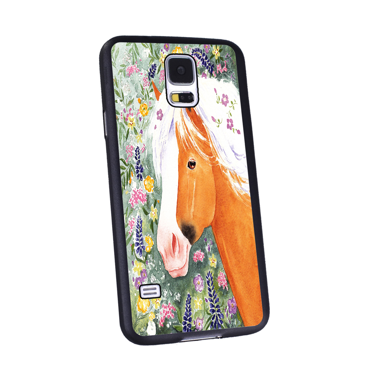 KuzmarK Samsung Galaxy S5 Black Cover Case - Palomino Welsh Pony with Welsh Wildflowers Horse Art by Denise Every