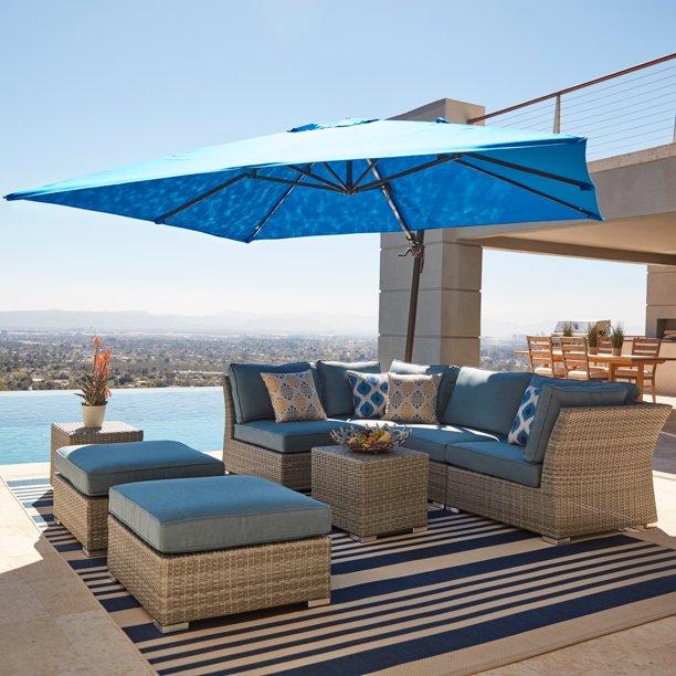 Corvus 8 Piece Grey Wicker Patio, Corvus 8 Piece Grey Wicker Patio Furniture Set With Blue Cushions