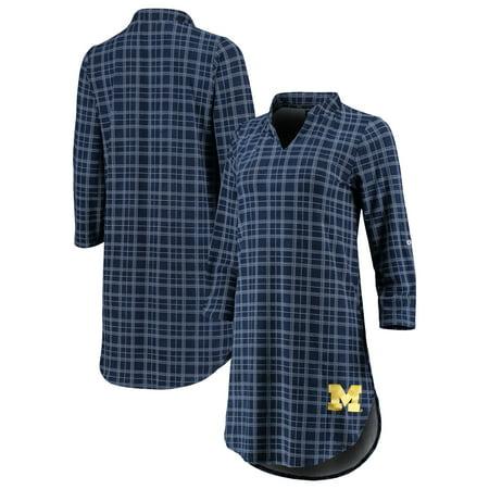 Michigan Wolverines Women's Best Dressed Plaid V-Neck 3/4-Sleeve Tunic Shirt -