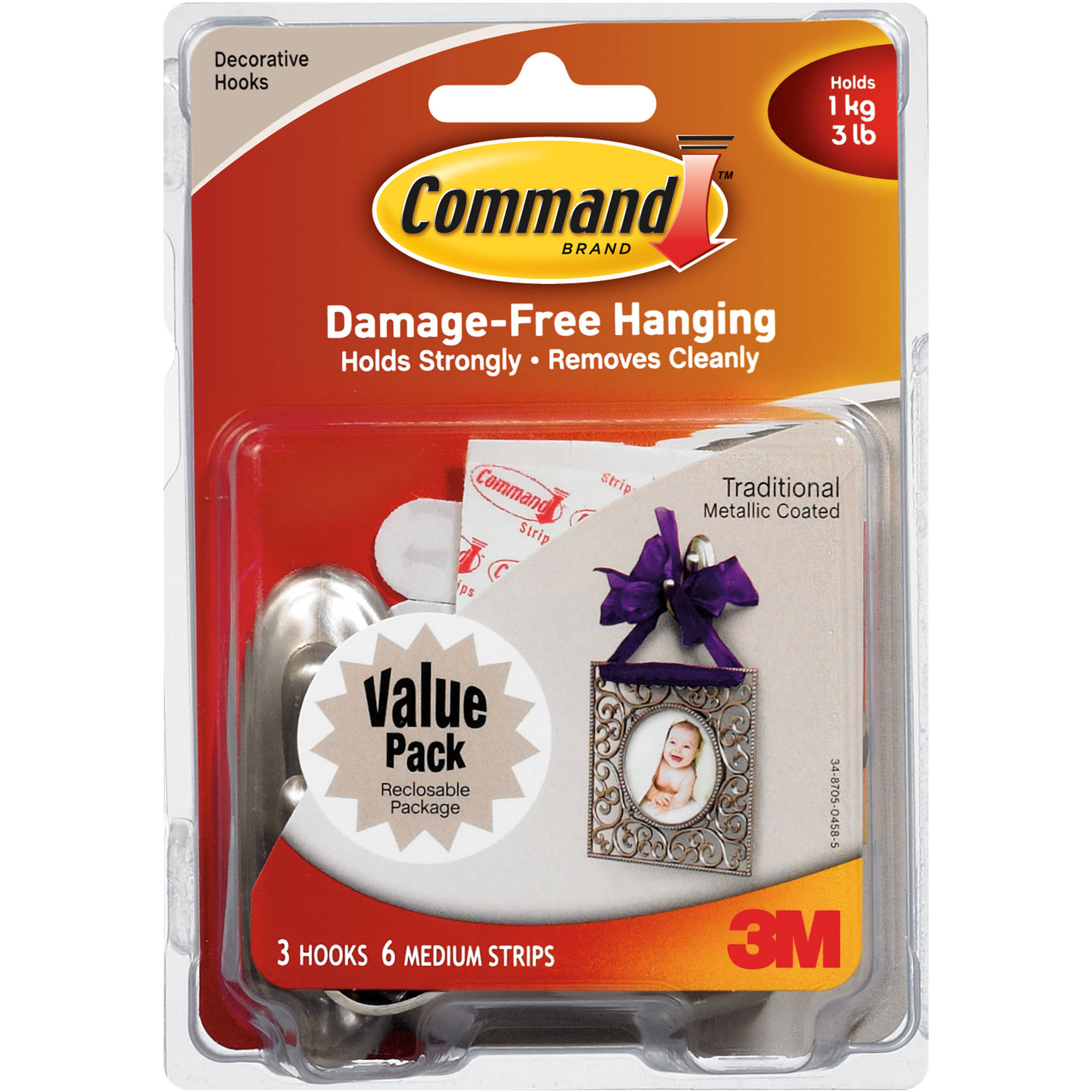 Command Medium Hook, Traditional Brushed Nickel, 3 Hooks, 6 Strips, 17051BN-VP-3PK