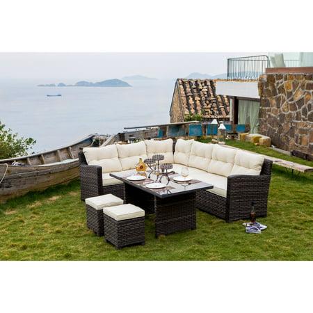 Every Season Hermosa Wicker 5 Piece Sectional Sofa Patio Dining Set ()