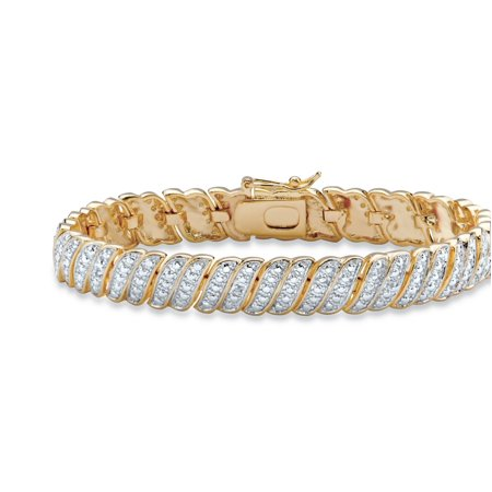 Baguette Diamond Tennis Bracelet - White Diamond Accent Two-Tone Pave-Style S-Link Tennis Bracelet 14k Yellow Gold-Plated 7