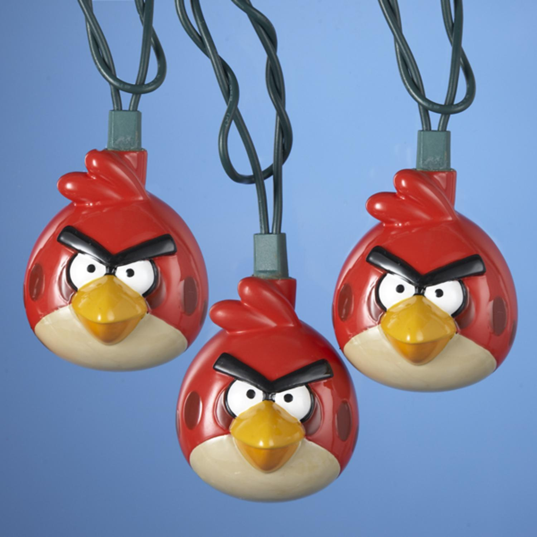 Set of 10 Red Angry Birds Game Christmas Lights