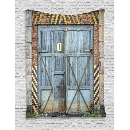 Industrial Tapestry, Old Wooden Factory Gate with Warning Signs Industrial Change Modern Techno Theme, Wall Hanging for Bedroom Living Room Dorm Decor, Multicolor, by Ambesonne](Halloween Theme Techno Remix Mp3)