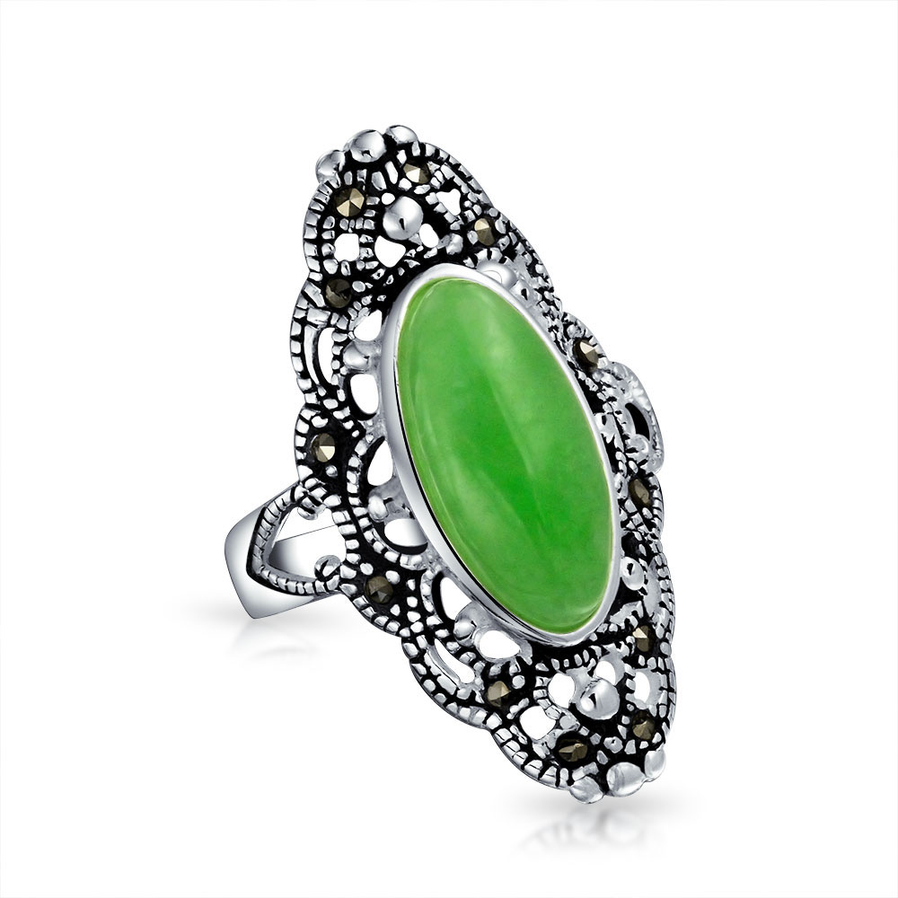 bling jewelry sterling silver dyed green jade marcasite