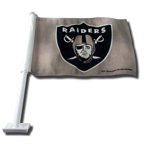 NFL - Oakland Raiders Grey Car Flag