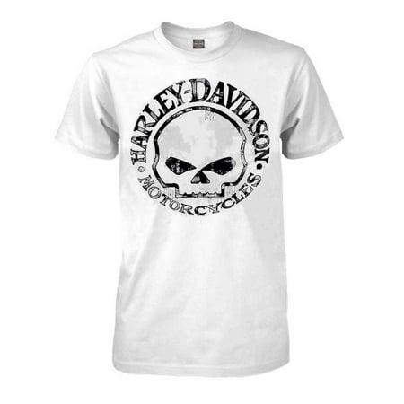 (Men's T-Shirt, Willie G Skull Short Sleeve Tee, White 30296643, Harley Davidson)