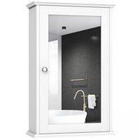 Costway New Bathroom Wall Cabinet Single Mirror Door Cupboard Storage Wood Shelf White