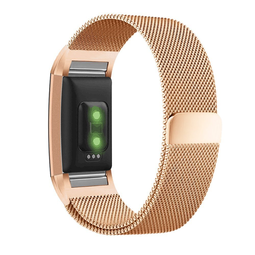 "Moretek Metal Milanese Stainless Steel Replacement Accessories Magnetic Watch Band for Fitbit Charge 2 (Rose Gold Small 5.5-6.7"")"