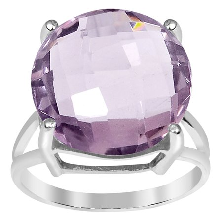 Orchid Jewelry Mfg Inc Orchid Jewelry 11.20ct Pink Amethyst Sterling Silver Round Shape Ring