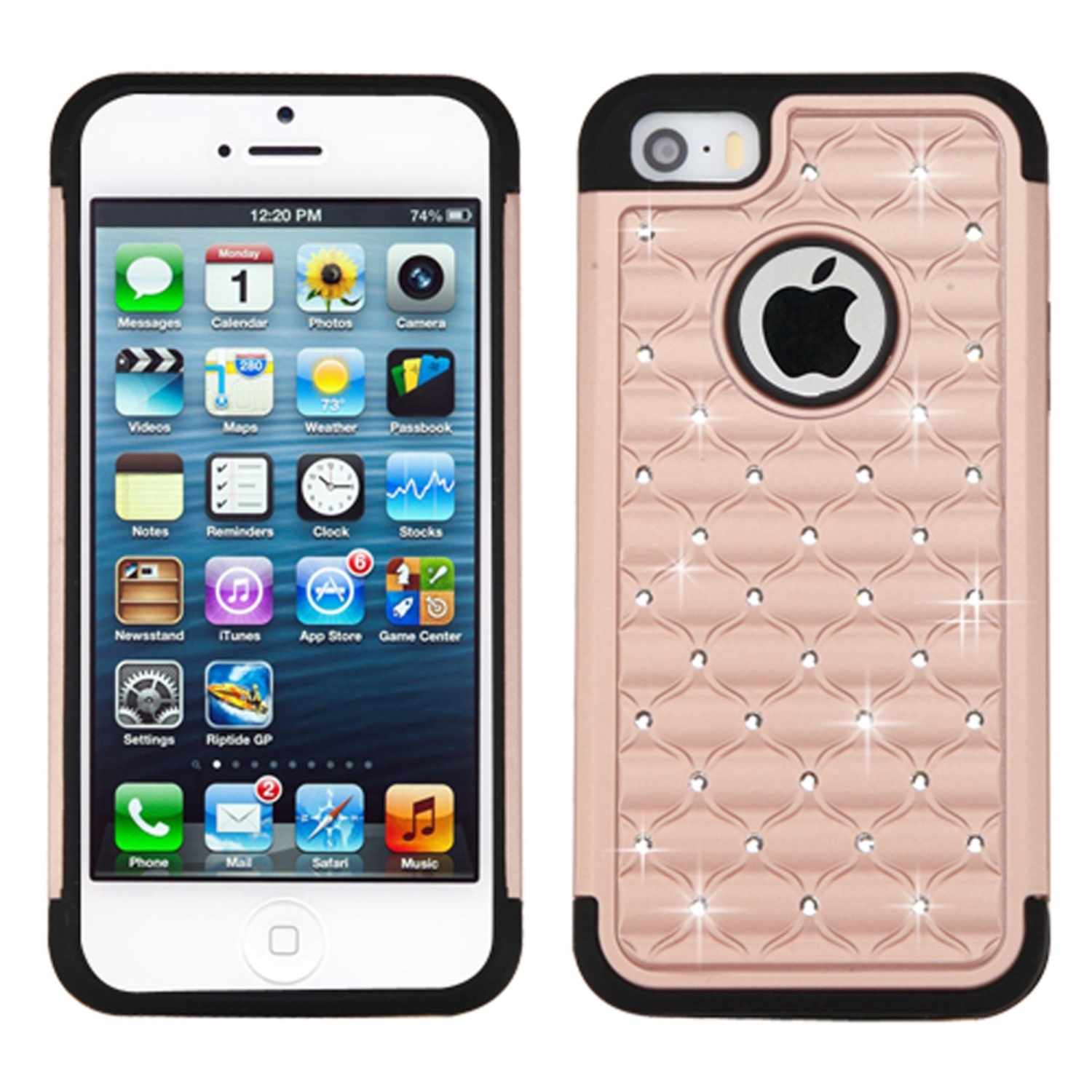 Insten Hard Dual Layer Rubber Silicone Case w/Diamond For Apple iPhone 5/5S/SE - Rose Gold/Black