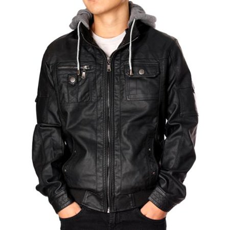 RNZ Premium Designer Men's Faux Leather Jacket - M9-Black-XL