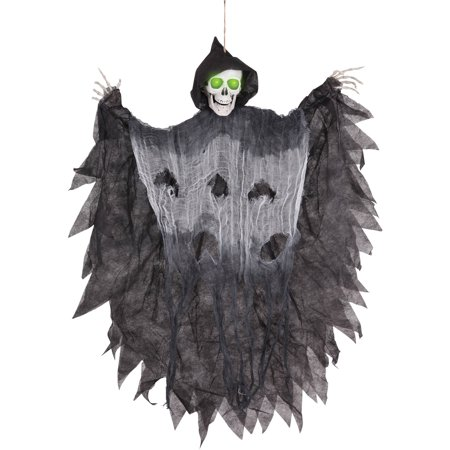 Hanging Reaper 3ft Light Up Halloween Decoration - Boarded Up Window Halloween Decoration