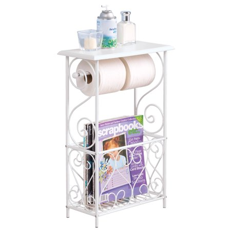 White Toilet Paper and Magazine Holder with Scrolling Design - Decorative Bathroom Table,