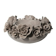 Donny Osmond Sculpted Rose Candleholder, Gray, 7""