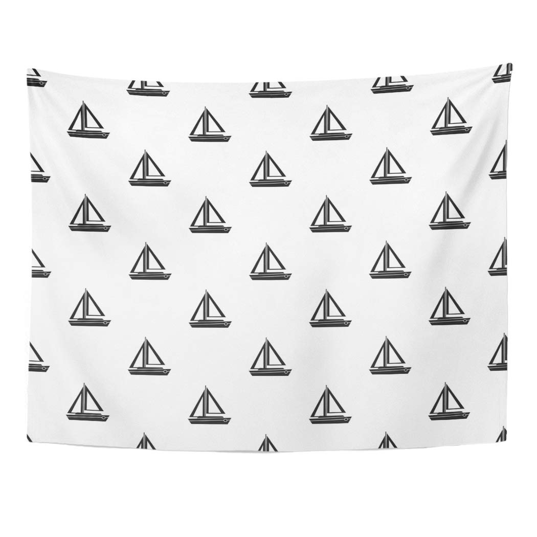 Zealgned Black Nautical Small Boat Pattern Simple For Adventure Creative Cruise Drawing Graphic Modern Wall Art Hanging Tapestry Home Decor For Living Room Bedroom Dorm 51x60 Inch Walmart Com Walmart Com