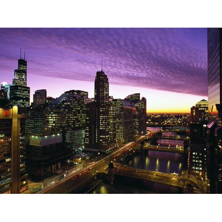 Skyline and River Looking West at Sunset, Chicago, Illinois, USA Print Wall Art By Alan