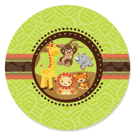 Funfari - Fun Safari Jungle - Party Circle Sticker Labels - 24 Count (Safari Park Halloween Party)
