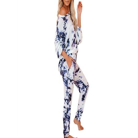 Womens Casual Jogger Pajamas Sets Leopard Print Nightwear Long sleeve Loungewear Sets Tie Dye Pocket Sleepwear Lounge Pants +T Shirt Blouse Tops