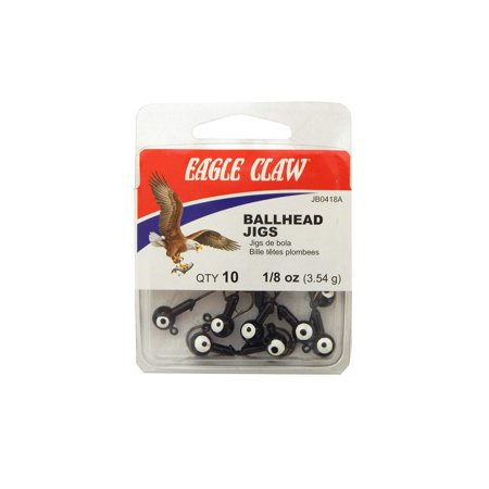 Eagle Claw Double Eye Ballhead Jig Black Size 1 8 Oz Pack Of 10  Jb0418ah