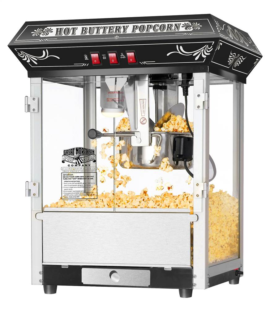 8 Ounce Countertop Popcorn Popper Machine in Black by Dtx International