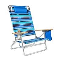 Deluxe 5 Reclining positions Lay Flat Big & Tall Back Aluminum Heavy Duty Beach Chair - 300 lbs Capacity