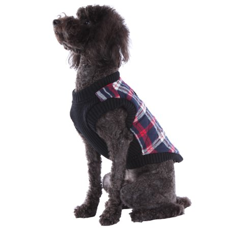 Plaid Sweater Vest (Dog's Plaid Quilted Sweater Fleece Zip Up Vest with Leash D-Ring, White,)
