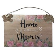"Mother's Day Wood Sign Wall Hanging Plaque Art Hanging Rustic Plaque Board Decor for Home Front Door Farmhouse Porch Garden Yard Sign 11.8"" X 7.9"" Burlap Hanger Home is Where Mom is"