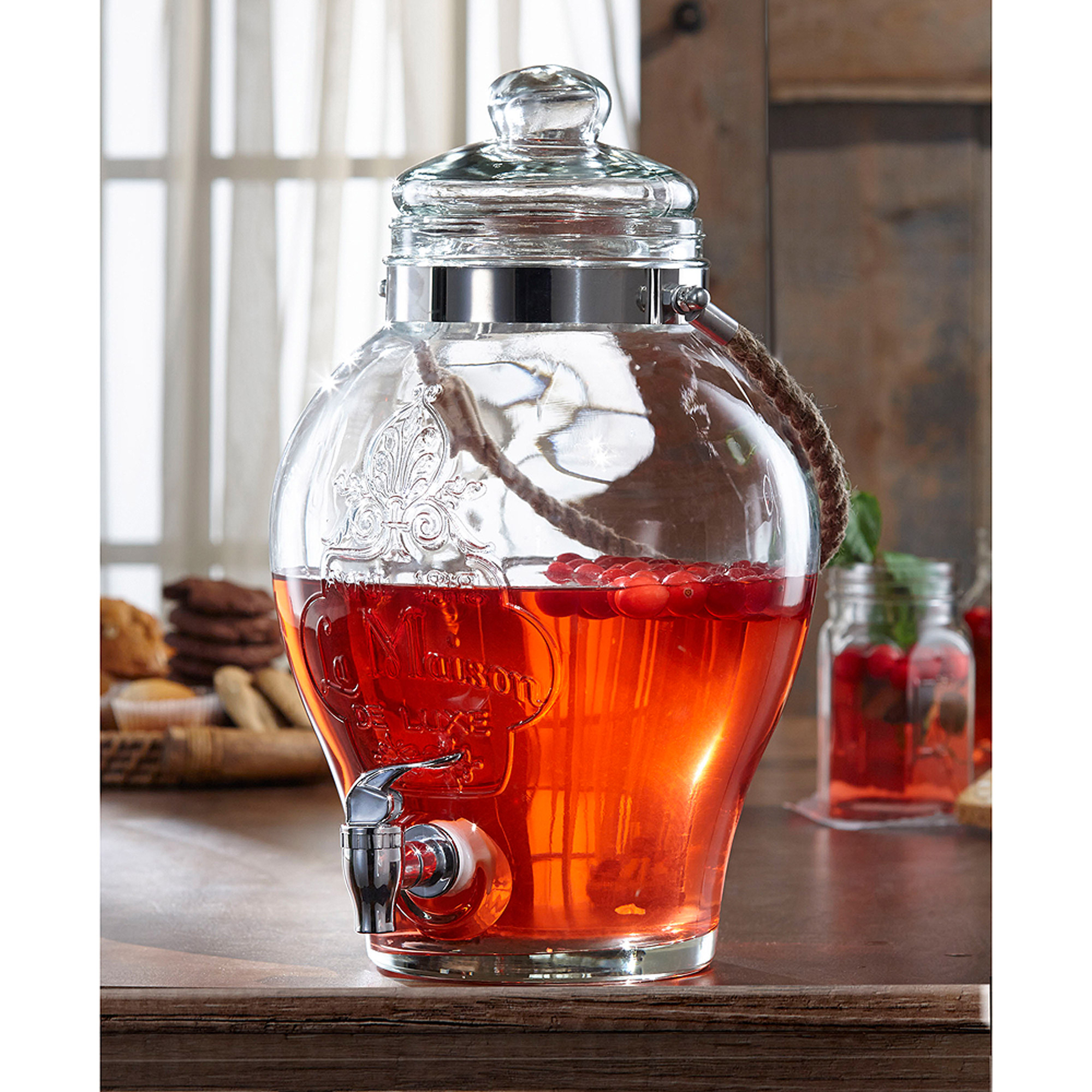 La Maison Beverage Dispenser with Rope, 1.5 Gal