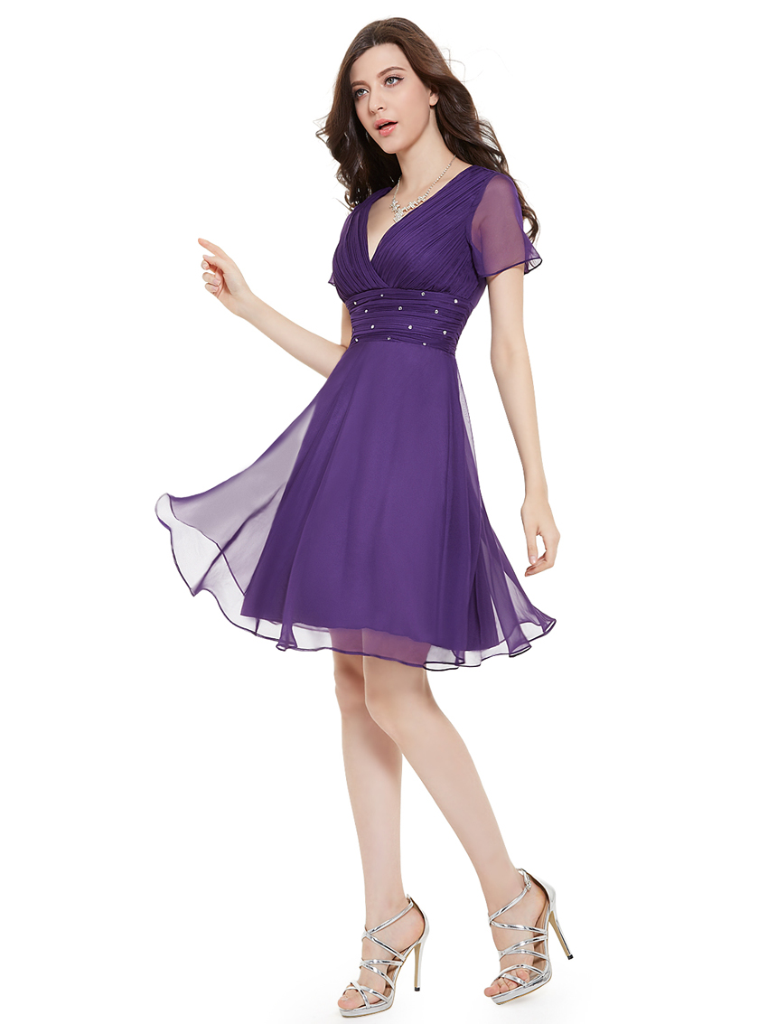 Ever-Pretty Short Bridesmaid Dress Short Sleeve Homecoming Party ...
