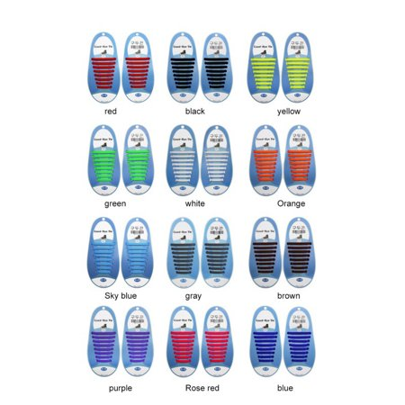 7c7c3a449f766 No Tie Shoelaces for Kids & Adults. The Elastic Silicone Shoe Laces to  Replace Your Shoe Strings. 20 Slip On Tieless Flat Silicon Sneakers Laces