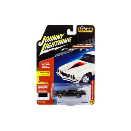 JOHNNY LIGHTNING 1:64 CLASSIC GOLD 2017 RELEASE 4 VERSION B - 1977 CHEVROLET CAMARO Z28 (BLACK) JLCP7055-24 Camaro Z28 Hood