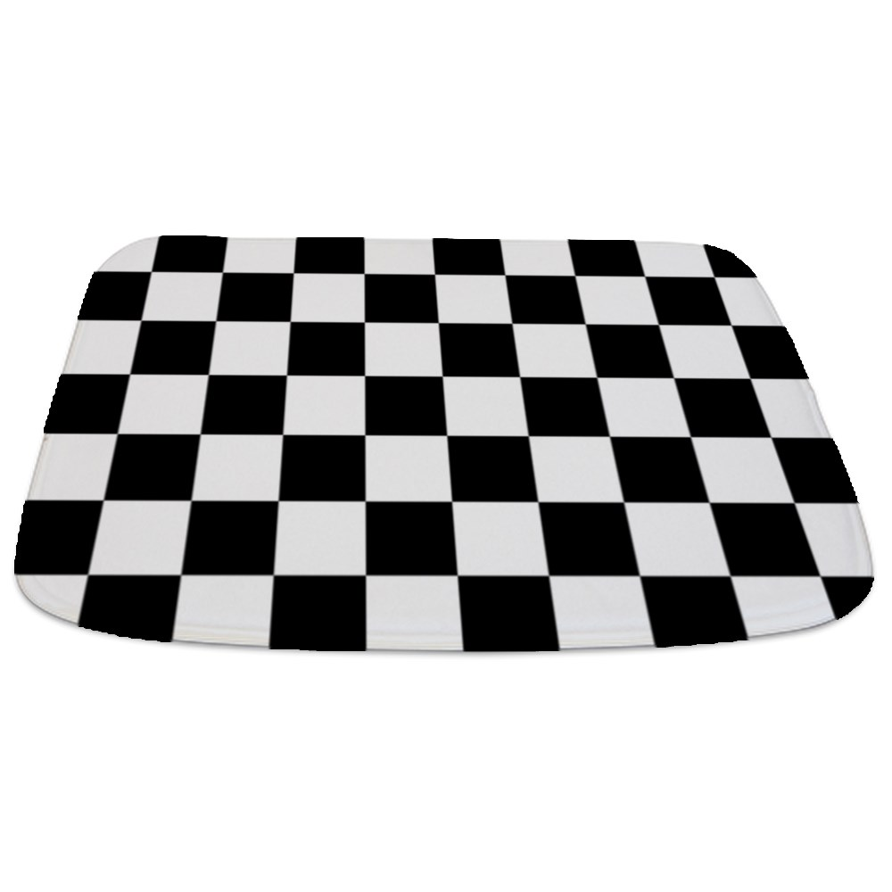 Checkered Bath Rug: BLACK AND WHITE Checkered Pattern