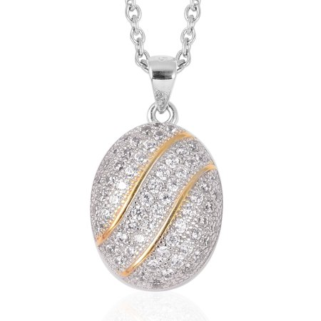 Mix Metal 14K Yellow Gold Plated Round White Cubic Zirconia CZ Pendant Necklace 20