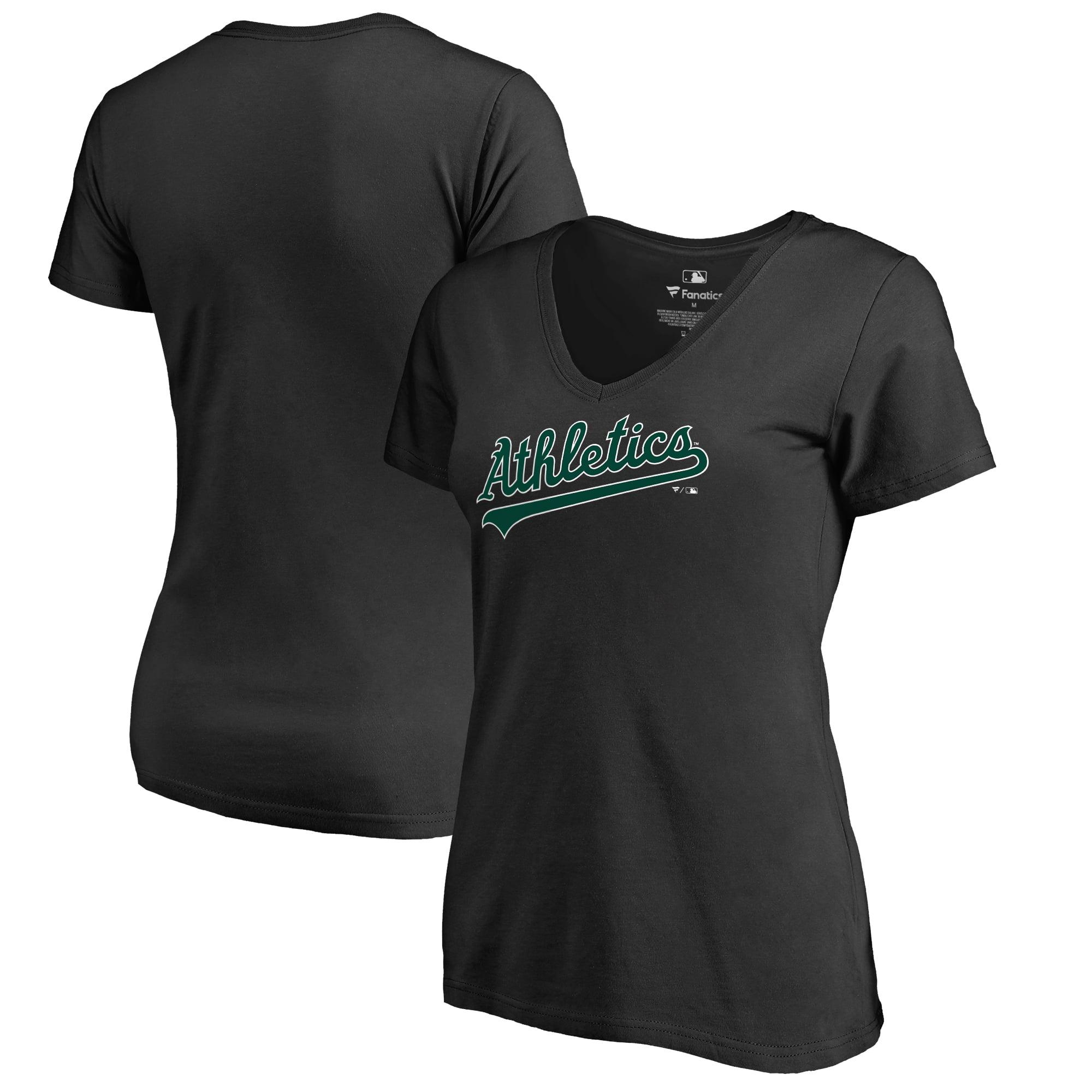 Oakland Athletics Fanatics Branded Women's Hometown Collection Turn Back The Clock V-Neck T-Shirt - Black