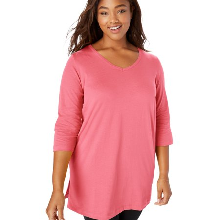 08a9d666ef0 Woman Within - Woman Within Plus Size Perfect V-neck Three-quarter Sleeve  Tunic - Walmart.com
