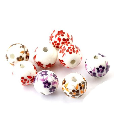 40 Ceramic Spacer, Loose Beads, Oriental Flower Mix 12mm with Approx 1/2 Inch