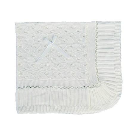 Angels Garment White Knitted Acrylic Satin Bow Blanket Acrylic Nhl Baby Blanket