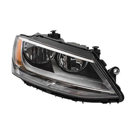 Passengers Combination Halogen Headlight Headlamp Replacement for 11-18 Volkswagen Jetta GLI Sedan 5C7941006 VW2503146