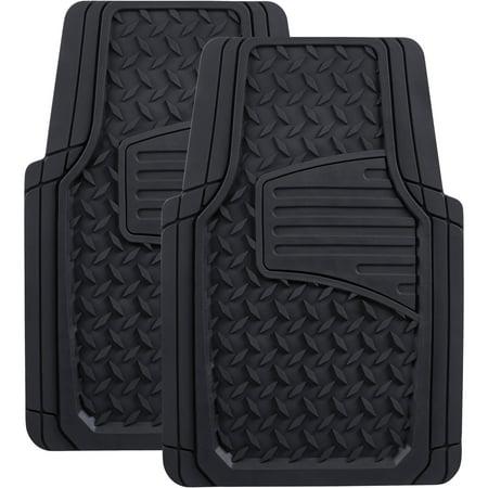 Auto Drive Black Heavy-Duty Universal Fit Floor Mat Set, 2 Piece ()