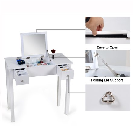 new styles bc29c bab45 Organizedlife White Vanity Table Jewelry Storage Makeup Desk with Dressing  Mirror and Drawer